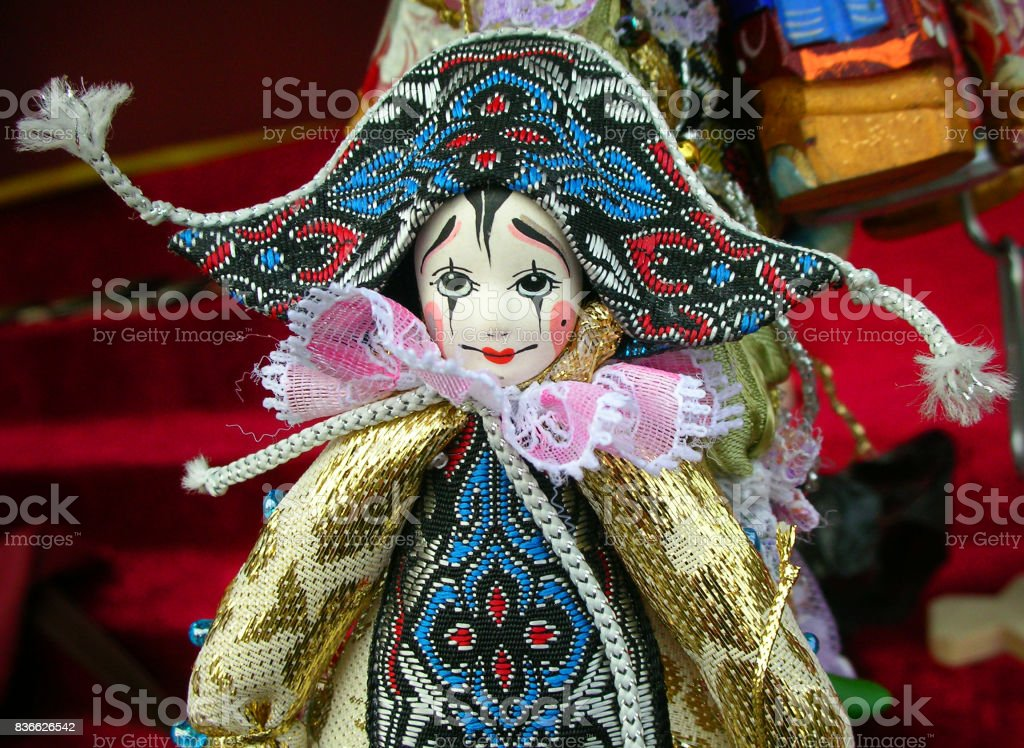 Pierrot doll at a souvenir stall in Saint Petersburg, Russia stock photo