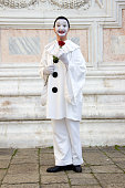 Pierrot Male Mask with Rose at Venice Carnival