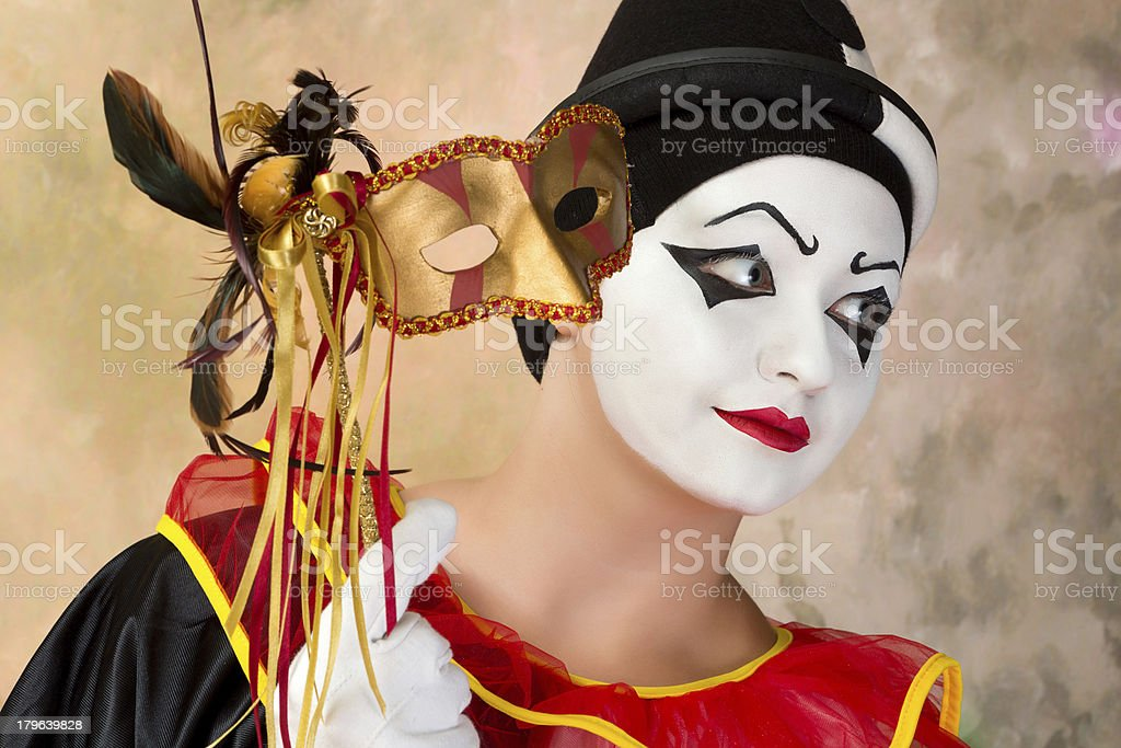 Pierrot with Venice mask royalty-free stock photo