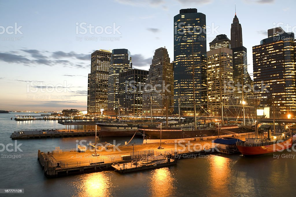 Piers in front of skyline royalty-free stock photo