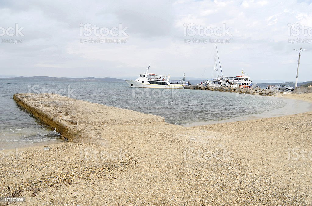 piers in Ouranoupolis royalty-free stock photo