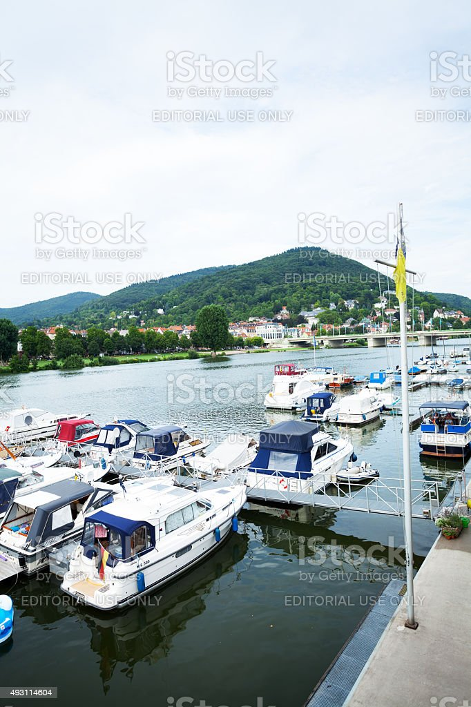 Piers with yachts in Neckar stock photo