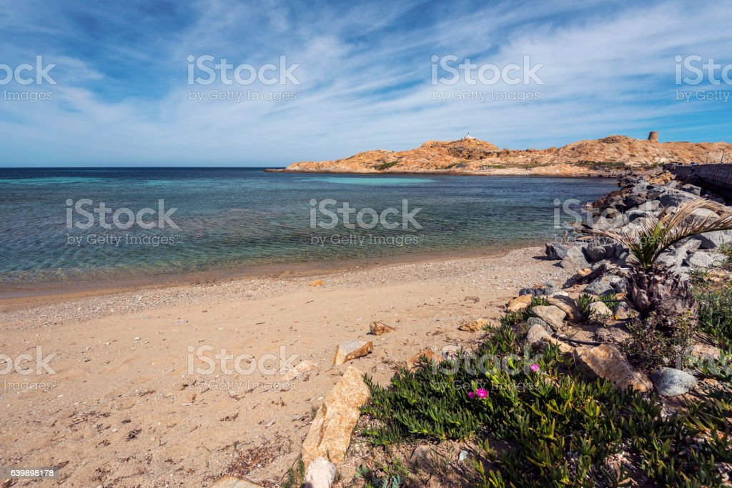 Pietra Islet seen from the west of Ile-Rousse in Corsica stock photo