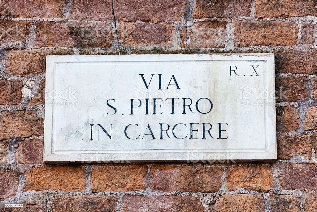 S. Pietro in Carcere Plaque in Rome, Italy stock photo