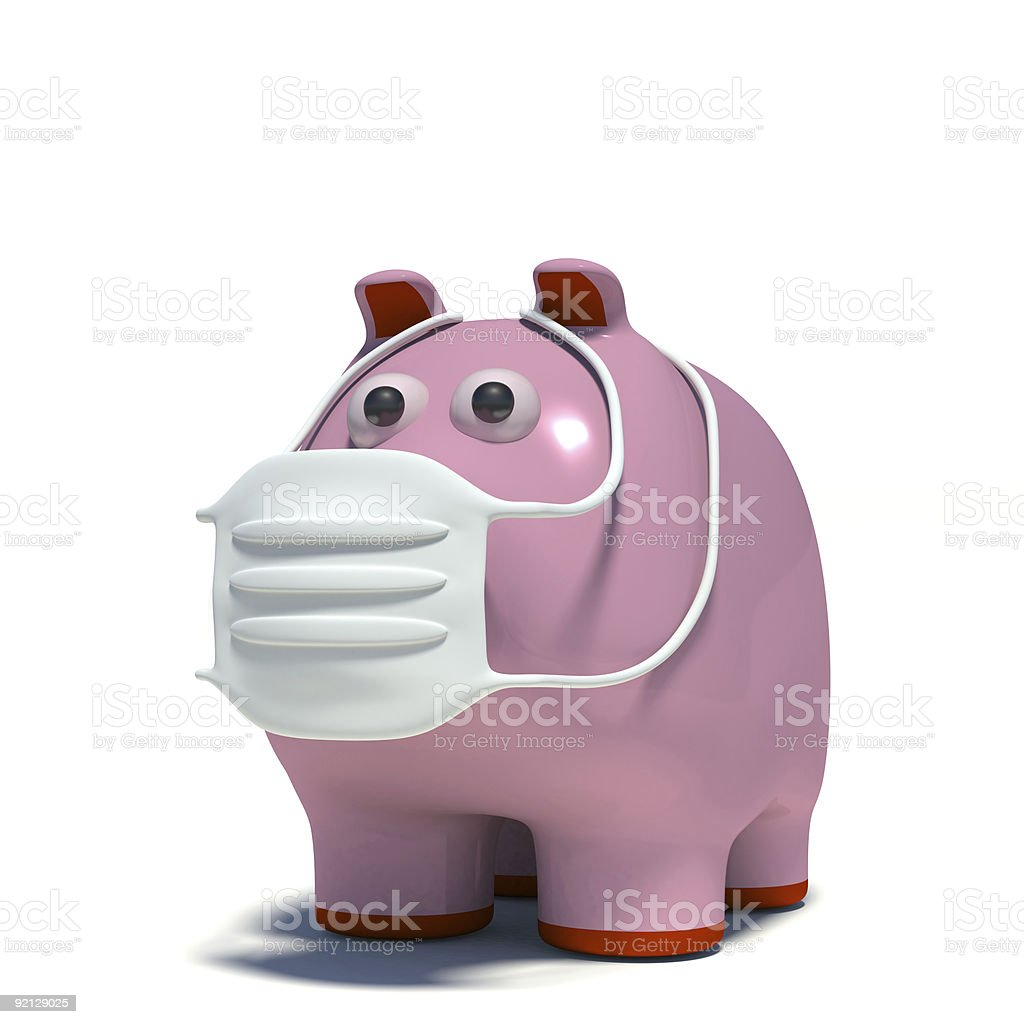 pig in an air mask royalty-free stock photo