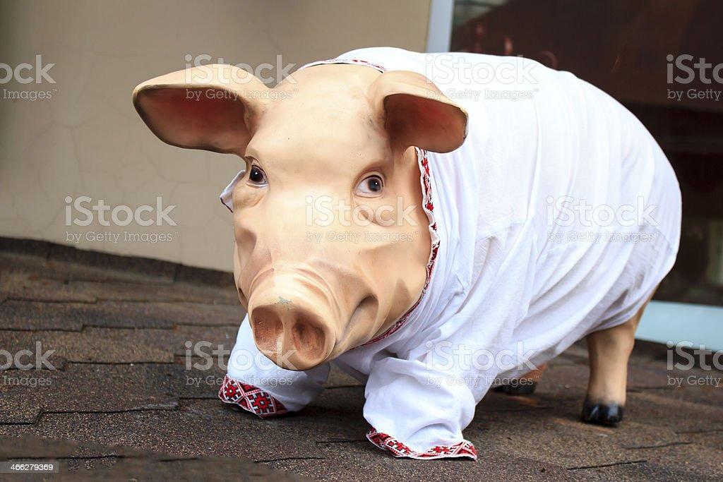 Pig in vyshyvanka royalty-free stock photo