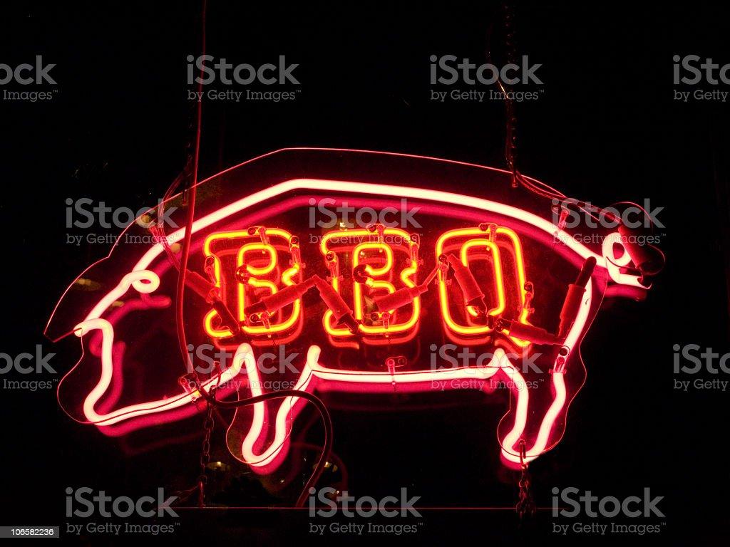 BBQ Pig Neon Sign stock photo