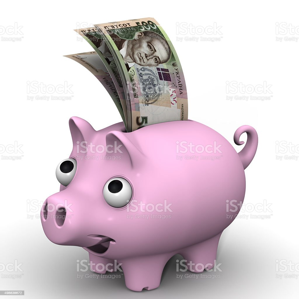 Pig piggy bank with banknotes of the Ukrainian hryvnia stock photo