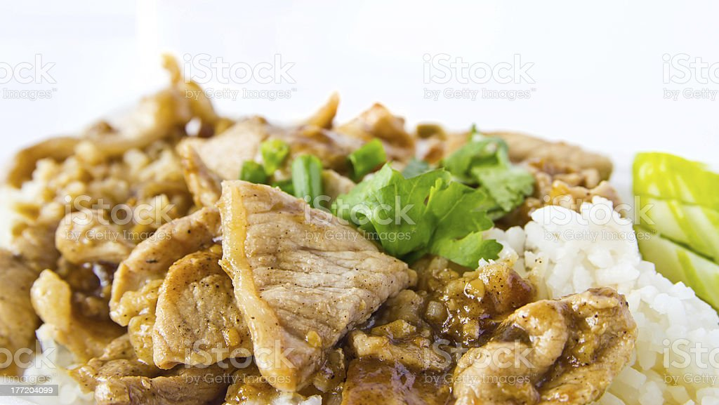 pig rice fries the garlic royalty-free stock photo