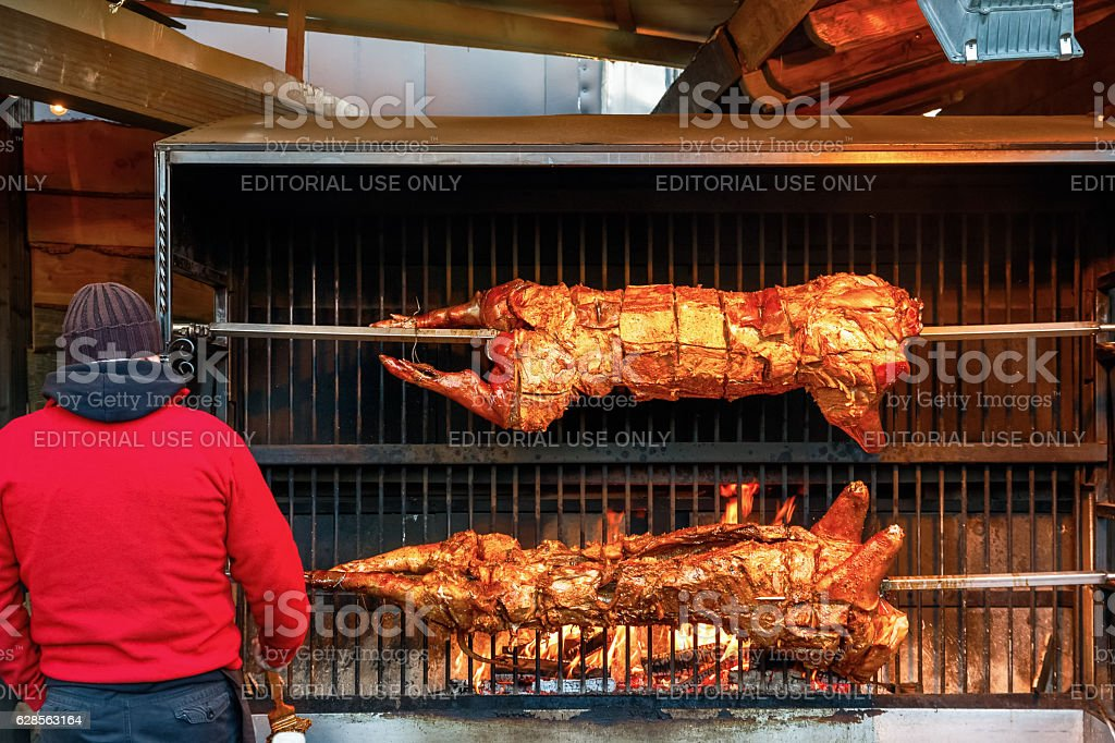 Pig Roast at Winter Wonderland stock photo
