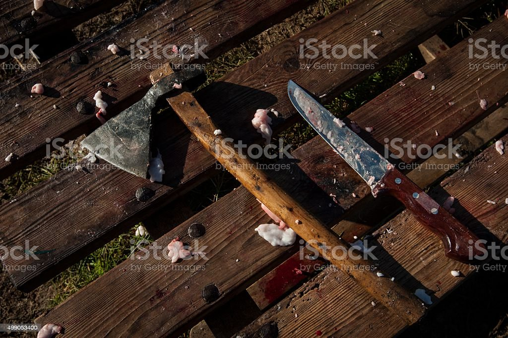 Pig slaughter in Mallorca, Balearic Islands stock photo