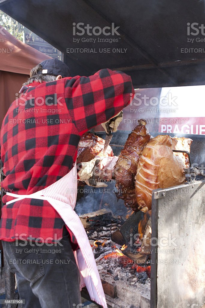 Pig Spit Roast royalty-free stock photo