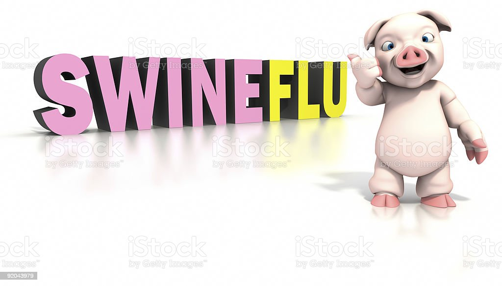 Pig standing in front of swine flu text stock photo