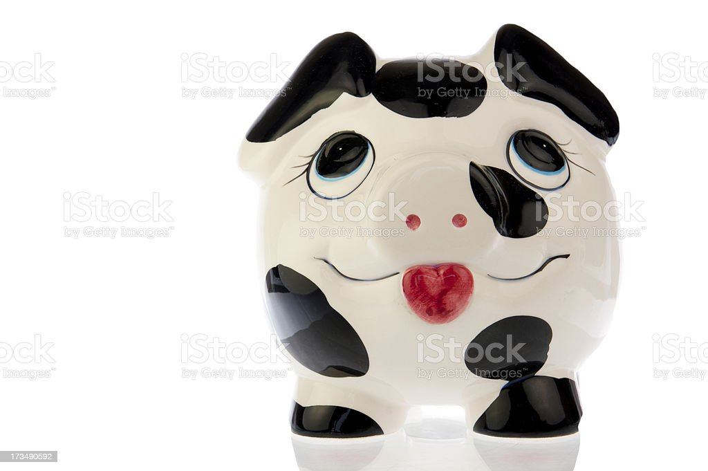 Pig with happy face in white royalty-free stock photo