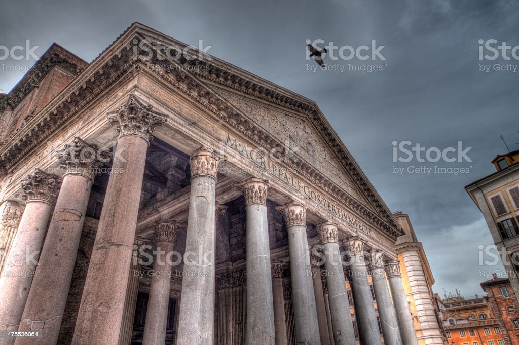 Pigeon flying over Pantheon (HDR) stock photo