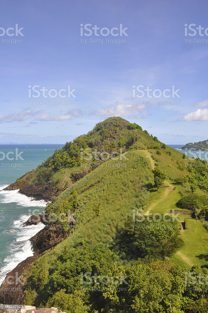 Pigeon Island in St Lucia stock photo