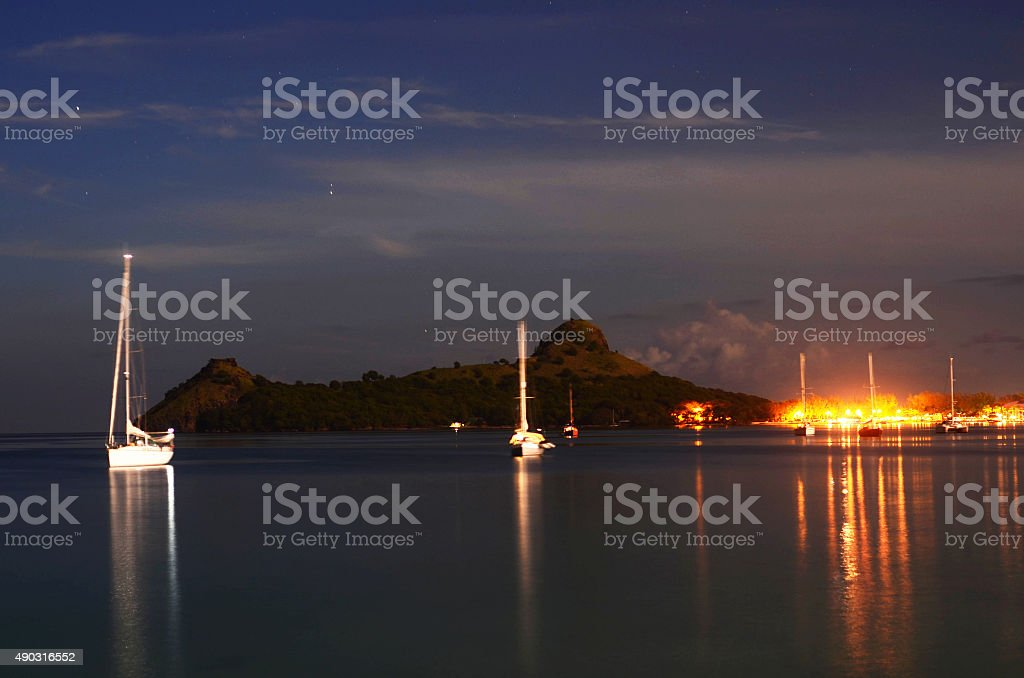 pigeon island st lucia in glorious night scene stock photo