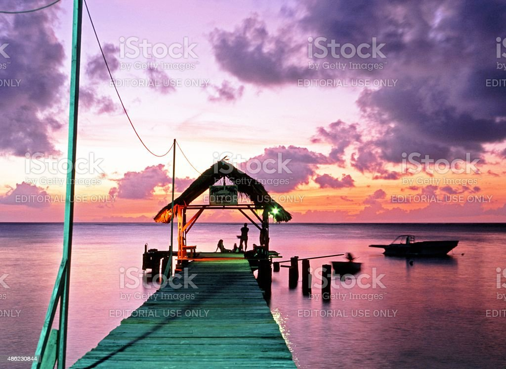 Pigeon Point at Sunset, Tobago. stock photo