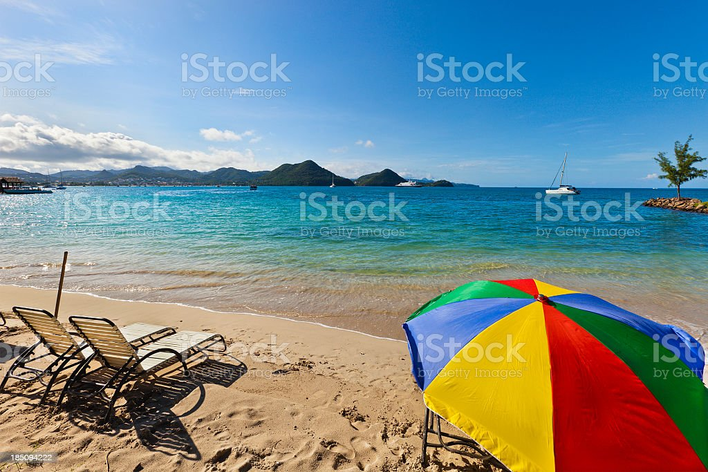 'Pigeon Point Beach, St. Lucia' stock photo