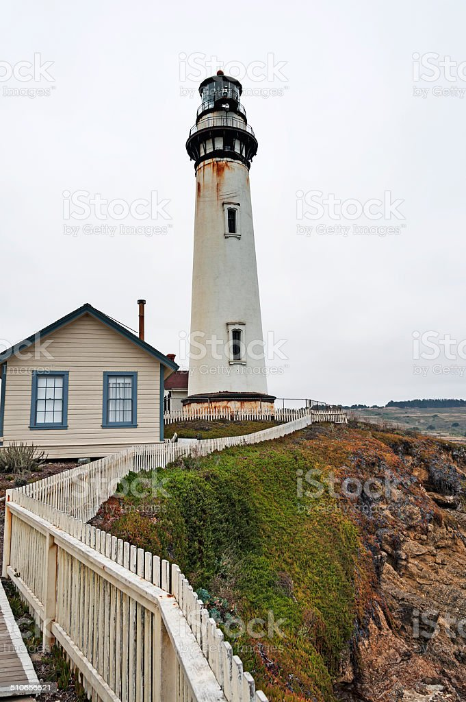 Pigeon Point Light House with Fence stock photo