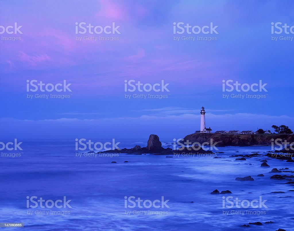 Pigeon Point Lighthouse at dawn - San Mateo County,  California royalty-free stock photo