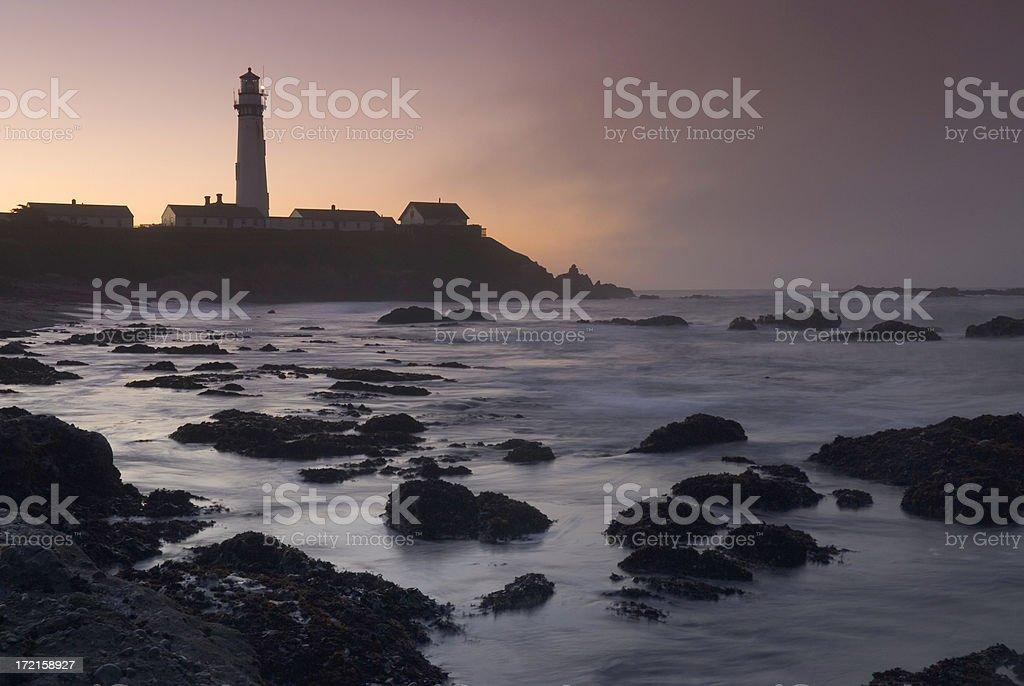 Pigeon Point Lighthouse at Sunrise, Fog royalty-free stock photo