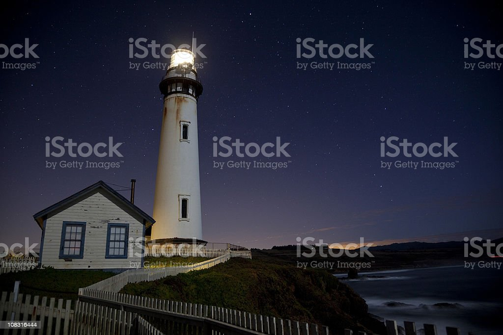 Pigeon Point Lighthouse in dawn royalty-free stock photo
