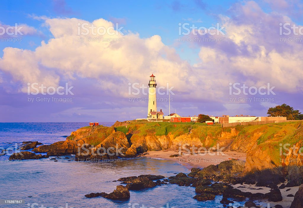 Pigeon Point Lighthouse on California Coastline stock photo