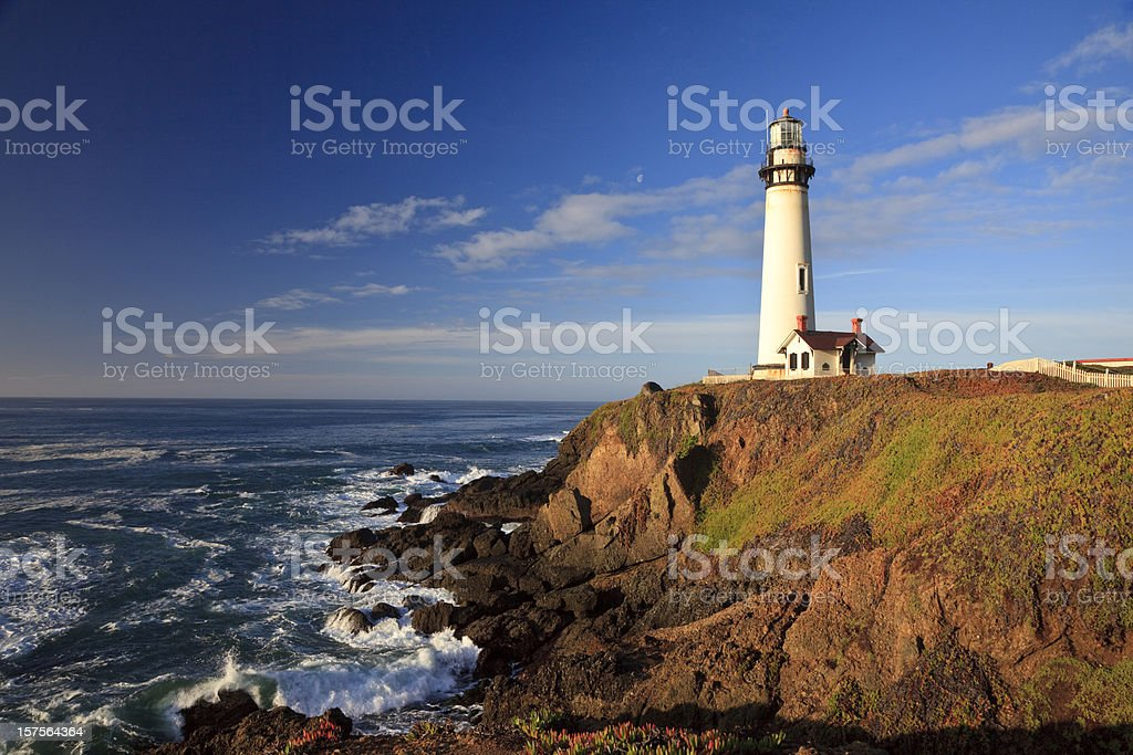 Pigeon Point Lighthouse on Cliff royalty-free stock photo