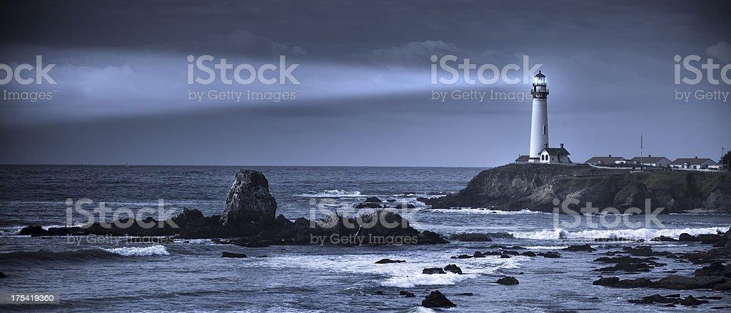 'Pigeon Point lighthouse panoramic USA, California, Big Sur' stock photo