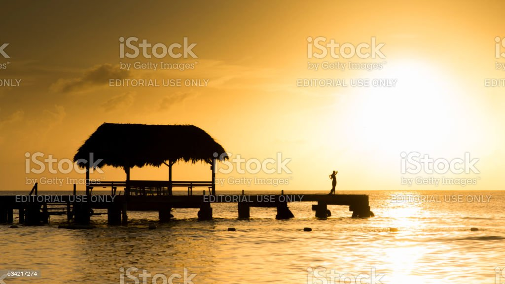 Pigeon Point Pier and hut on sunset royalty-free stock photo