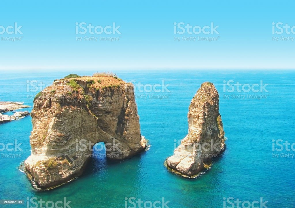 Pigeon Rocks, Beirut, Lebanon stock photo