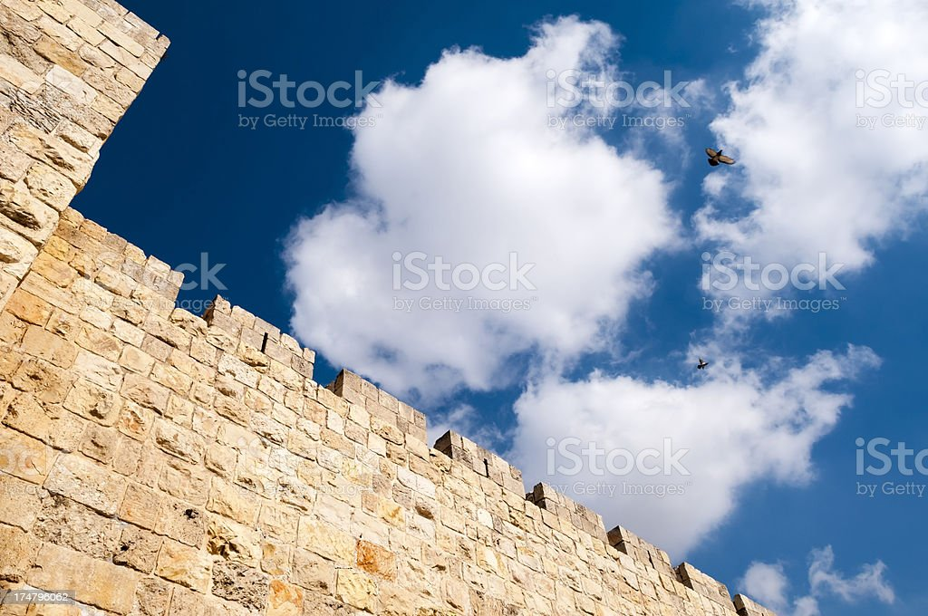 Jerusalem Old City walls and sky royalty-free stock photo