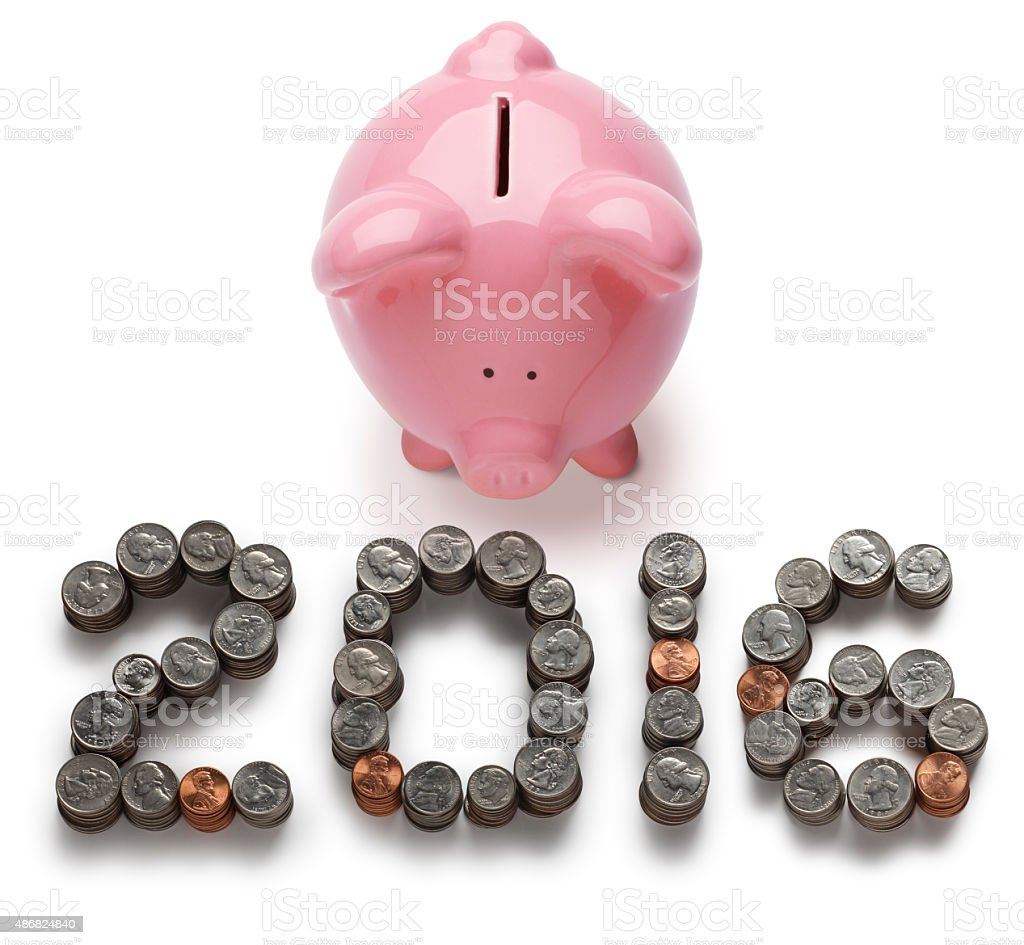 Piggy Bank 2016 isolated on white a background stock photo