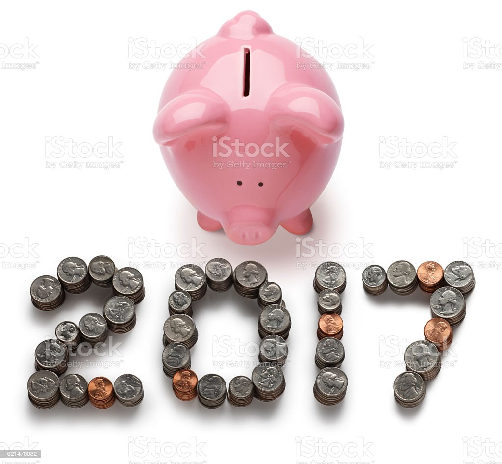 Piggy Bank 2017 Isolated On A White Background stock photo