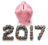 Piggy Bank 2017 Isolated On A White Background
