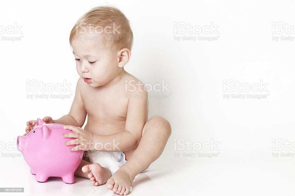 Piggy Bank And Baby royalty-free stock photo