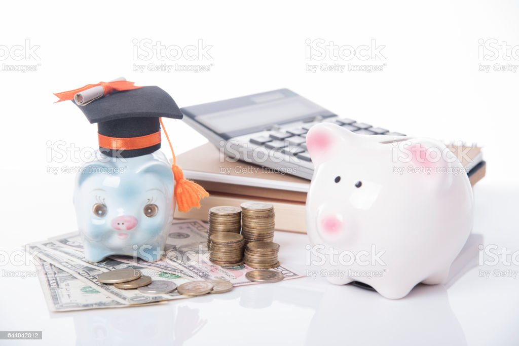 piggy bank and black graduation hat with money, book. stock photo