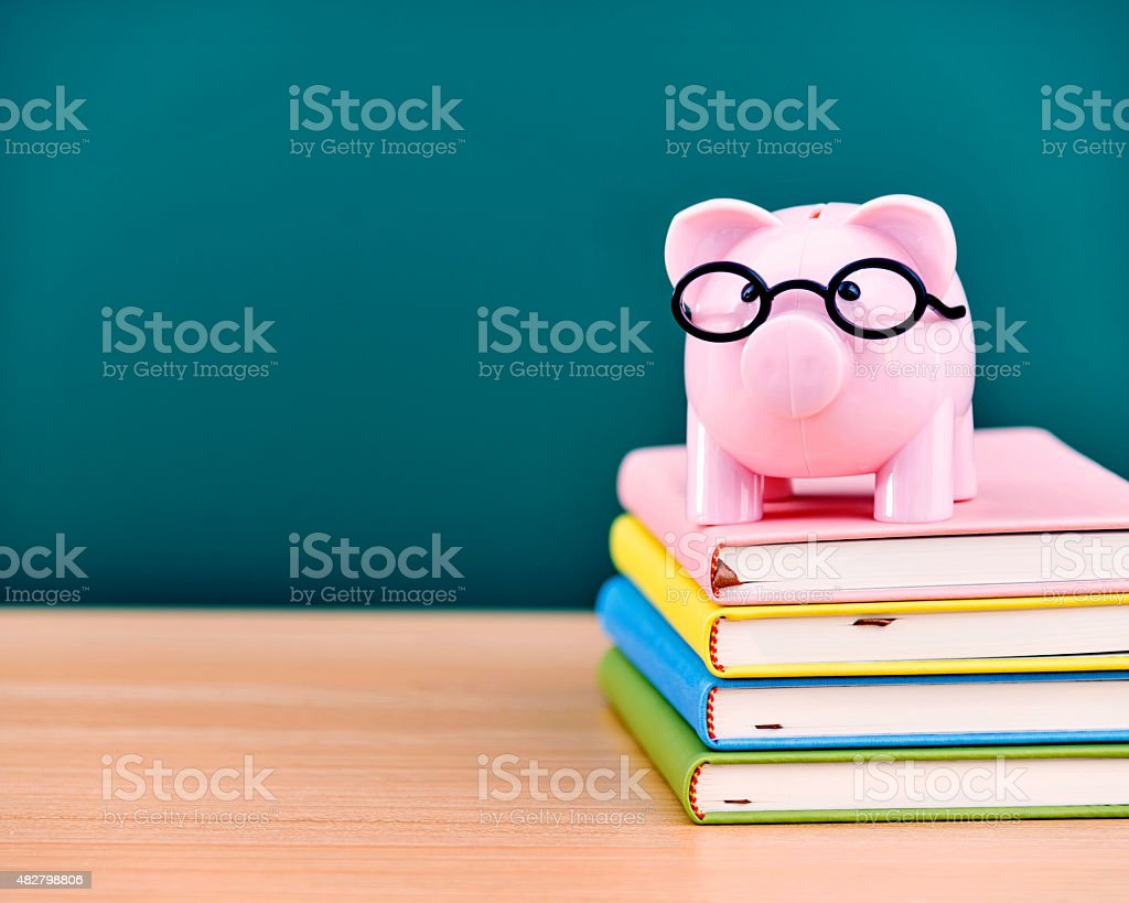 piggy bank and books stock photo