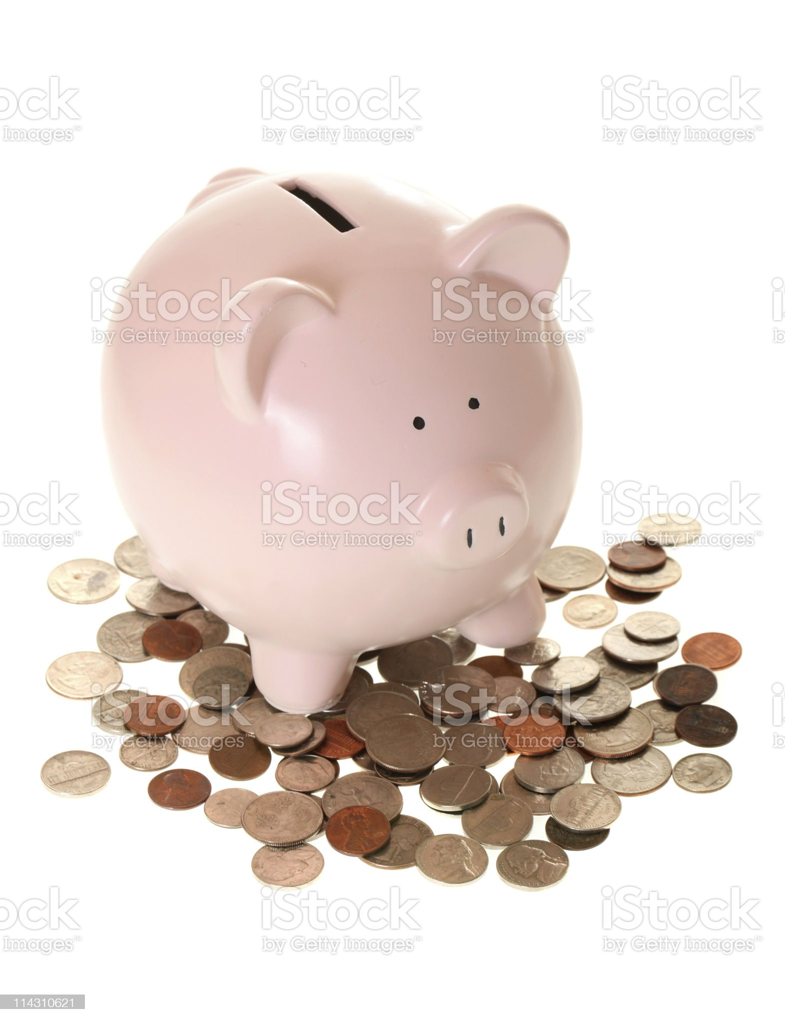 piggy bank and coins royalty-free stock photo