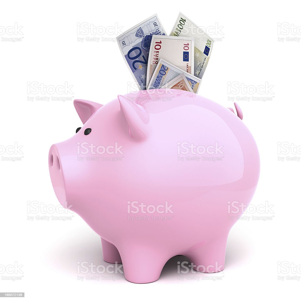 Piggy bank and euros royalty-free stock photo