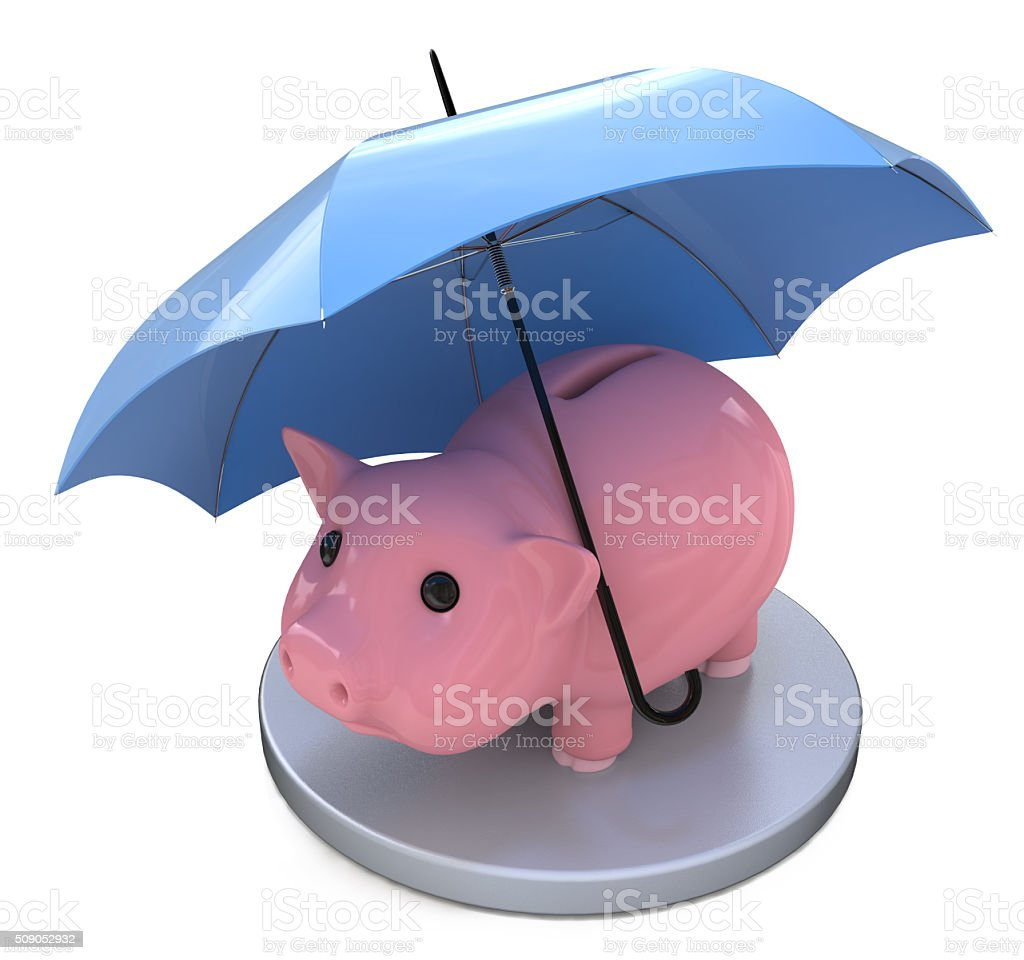 piggy bank and Financial insurance concept stock photo
