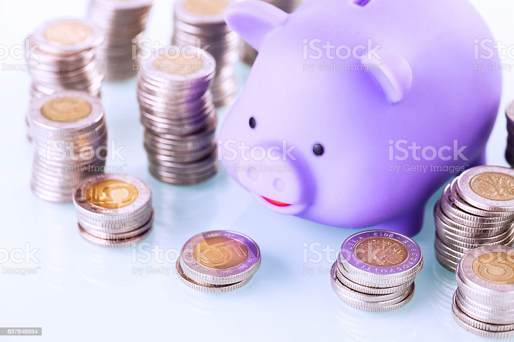 Piggy bank and money on white background stock photo