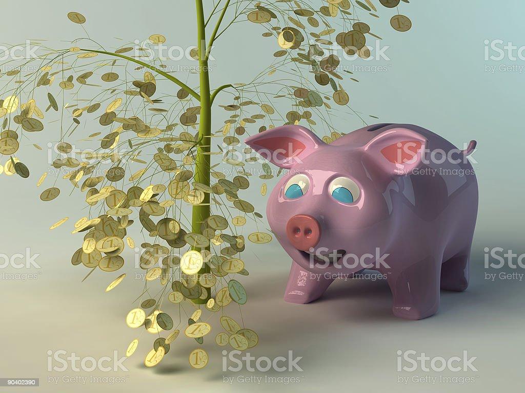 Piggy bank and money tree royalty-free stock photo