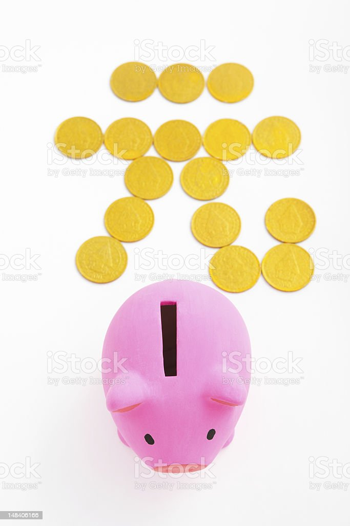 Piggy bank and renminbi sign stock photo