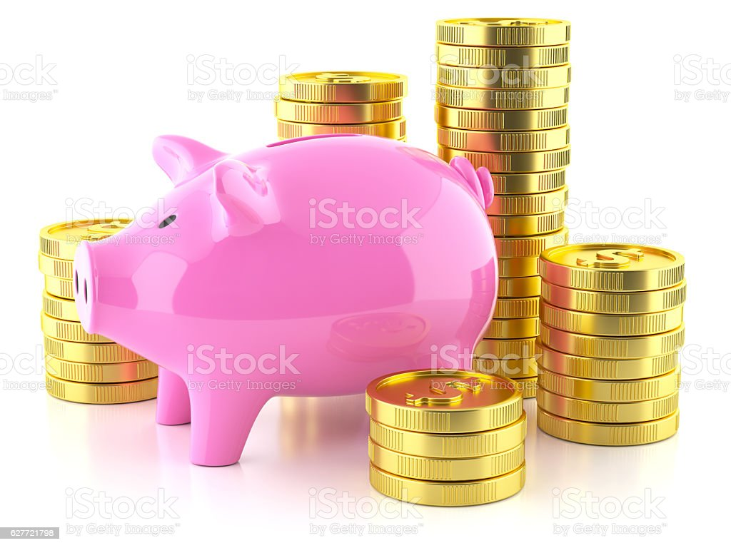 Piggy bank and stock golden coins stock photo