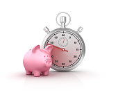 Piggy Bank and Stopwatch - 3D Rendering