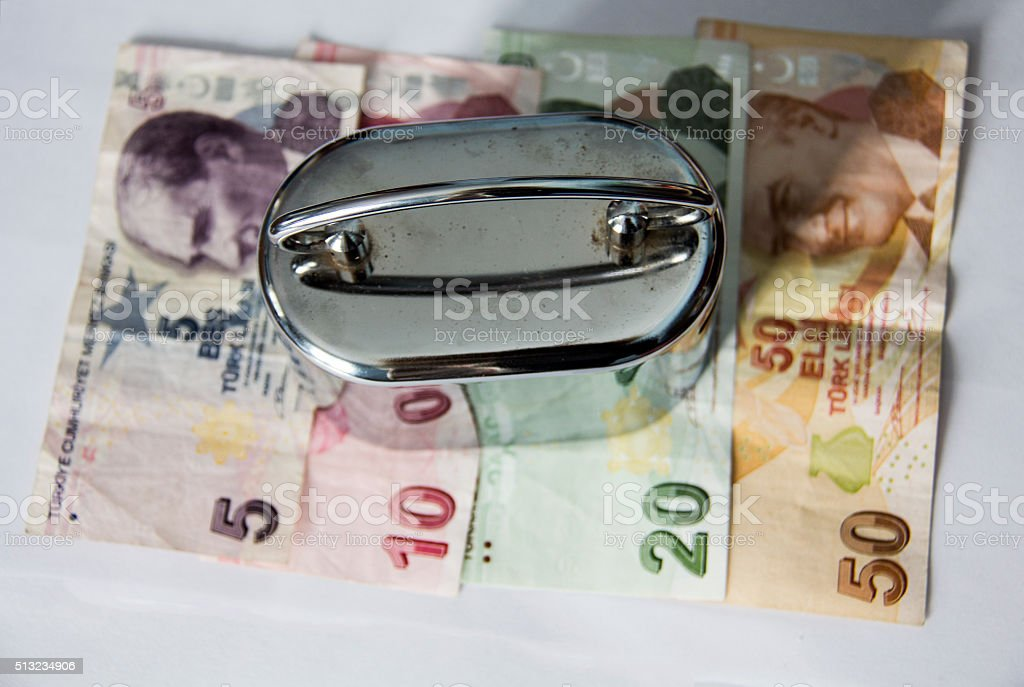 Piggy Bank and Turkish Liras stock photo