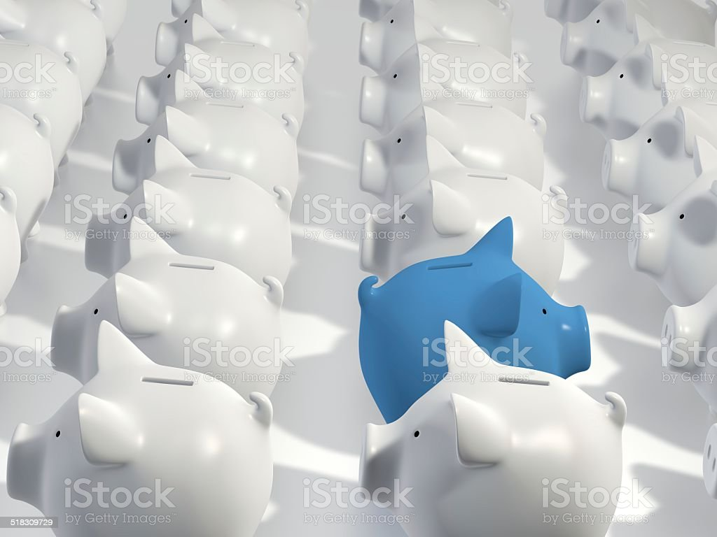 Piggy bank - blue pig other direction stock photo
