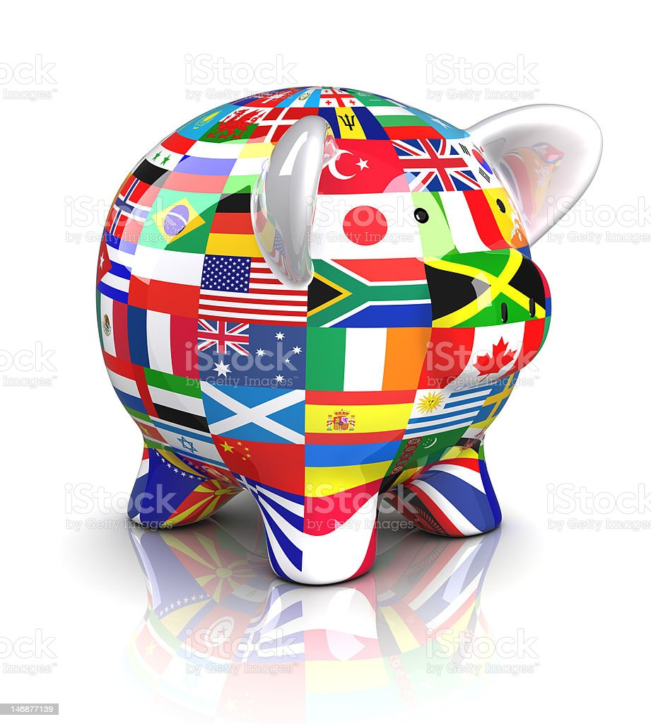 Piggy Bank - Collection of flags (Isolated) stock photo